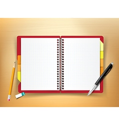 Top view of stationary notebook pen pencil eraser vector image