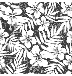 White and gray tropical flowers silhouettes vector image vector image