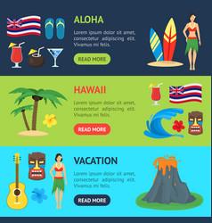 cartoon symbol of hawaii banner horizontal set vector image vector image