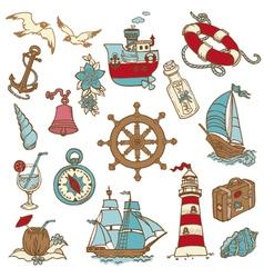 Doodle Sea elements vector image vector image