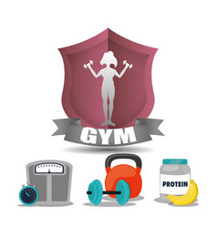 gym woman fitness weight woman label vector image