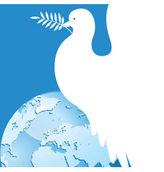 international day of peace dove over the world vector image vector image