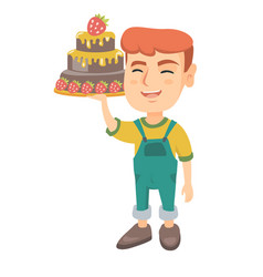 little caucasian boy holding a chocolate cake vector image