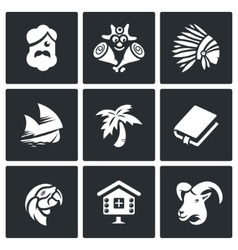 Set of Life on Desert Island Icons vector image