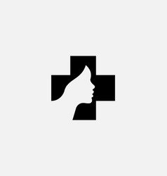 Abstract cross with a silhouette of woman face vector