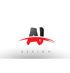 Ai a i brush logo letters with red and black vector
