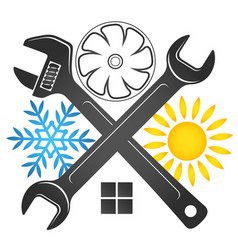 Air conditioner repair wrench symbol vector