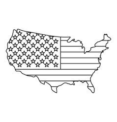 American map icon outline style vector image
