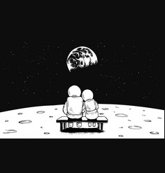 Astronaut girl and boy sits on bench vector