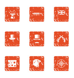 Bewitched icons set grunge style vector