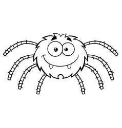 Black and white funny spider cartoon character vector