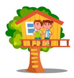 boy and girl kid playing on tree house vector image