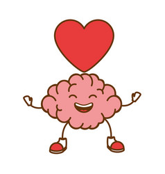Brain with heart kawaii character icon vector