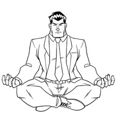 businessman meditating line art vector image
