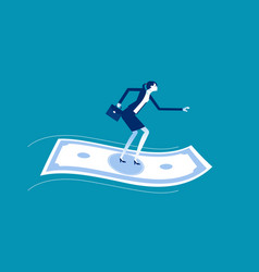 businesswoman standing on flying money financial vector image
