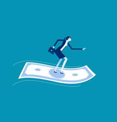 Businesswoman standing on flying money financial vector