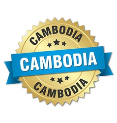 Cambodia round golden badge with blue ribbon vector