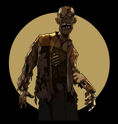 cartoon man scary zombie on the background of a vector image