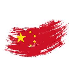 chinese flag grunge brush background vector image
