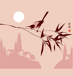 Chinese landscape with magpie on a branch vector