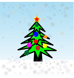 christmas tree and holiday gifts fir-tree vector image