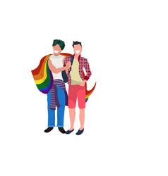 couple gays holding lgbt rainbow flag love parade vector image