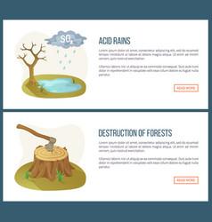 Destruction forests acid rains website set vector