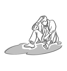 disappointed businessman sitting on the ground vector image