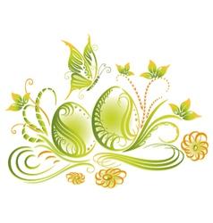 Easter eggs spring flowers vector