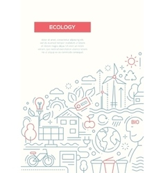Ecology - line design brochure poster template a4 vector