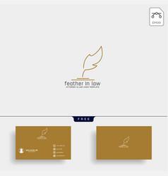 Elegant feather attorney logo line design template vector