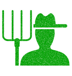 Farmer with pitchfork icon grunge watermark vector
