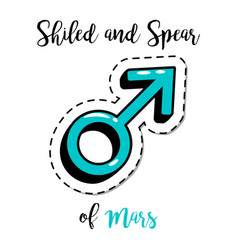 fashion patch shield and spear of mars vector image