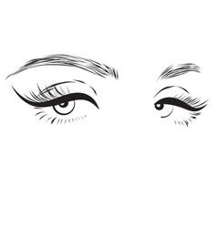female eyes drawing long eyelashes vector image