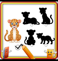 find the correct shadow cartoon funny cheetah sit vector image