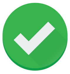 Flat green checked finish correct icon vector