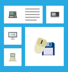 Flat icon computer set of computer mouse vintage vector