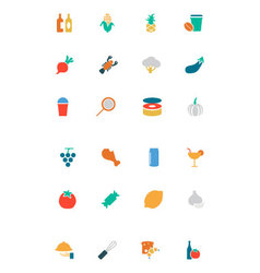 Food and Drinks Colored Icons 16 vector image
