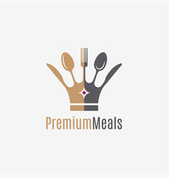 fork knife and spoon crown concept on white vector image