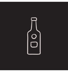 Glass bottle sketch icon vector image