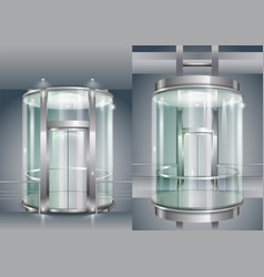 Glass enclosed elevator vector