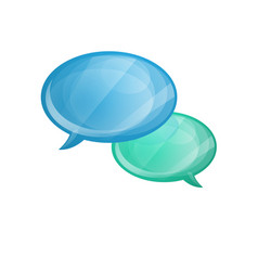 glossy speech bubbles icon isolated on white vector image