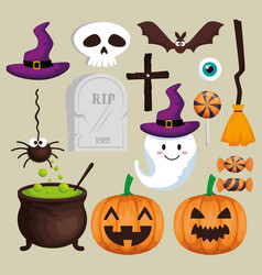 halloween card set icons vector image