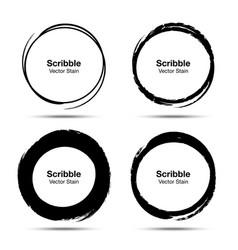 Hand drawn circle brush brush circular smears vector