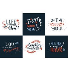 Hand drawn doodle sketch love quotes set vector