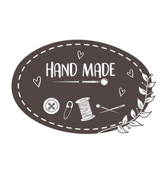 hand made sewing frame with accessories vector image