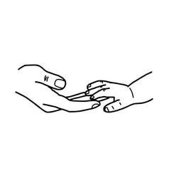 hand of baby and mother touching together vector image