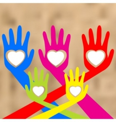 hands and heart vector image