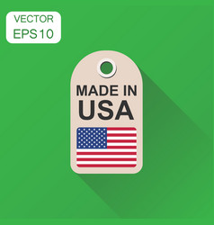 hang tag made in usa with flag icon business vector image
