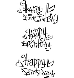 Happy birthday wish cut out liquid curly graffiti vector